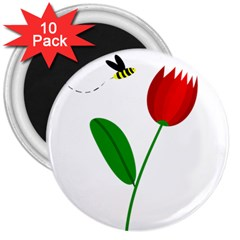 Red tulip and bee 3  Magnets (10 pack)