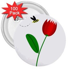 Red tulip and bee 3  Buttons (100 pack)