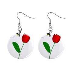 Red tulip and bee Mini Button Earrings