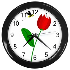 Red tulip and bee Wall Clocks (Black)
