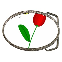 Red tulip and bee Belt Buckles