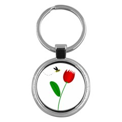 Red tulip and bee Key Chains (Round)