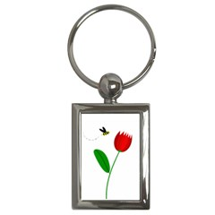 Red tulip and bee Key Chains (Rectangle)