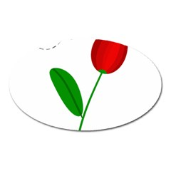 Red tulip and bee Oval Magnet