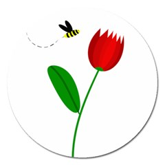Red tulip and bee Magnet 5  (Round)