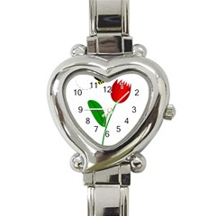 Red tulip and bee Heart Italian Charm Watch