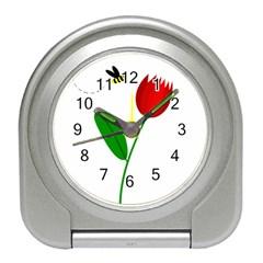 Red tulip and bee Travel Alarm Clocks