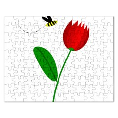 Red tulip and bee Rectangular Jigsaw Puzzl