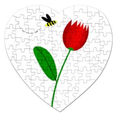 Red tulip and bee Jigsaw Puzzle (Heart)