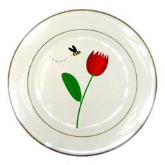 Red tulip and bee Porcelain Plates