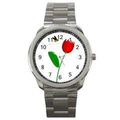 Red tulip and bee Sport Metal Watch