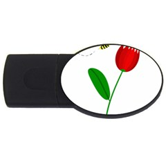 Red tulip and bee USB Flash Drive Oval (4 GB)