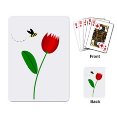 Red tulip and bee Playing Card