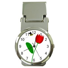 Red tulip and bee Money Clip Watches