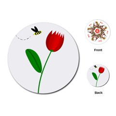 Red tulip and bee Playing Cards (Round)