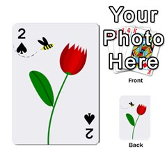 Red tulip and bee Playing Cards 54 Designs