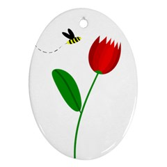 Red tulip and bee Oval Ornament (Two Sides)