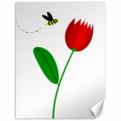 Red tulip and bee Canvas 12  x 16