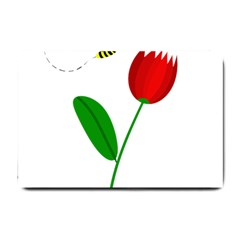 Red tulip and bee Small Doormat