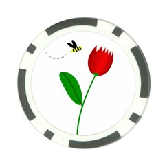 Red tulip and bee Poker Chip Card Guards