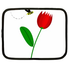Red tulip and bee Netbook Case (Large)