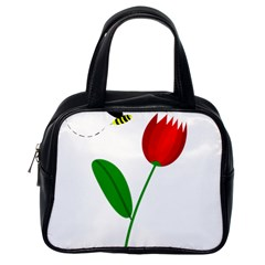 Red tulip and bee Classic Handbags (One Side)