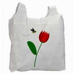 Red tulip and bee Recycle Bag (One Side)