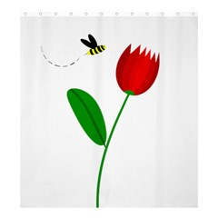 Red tulip and bee Shower Curtain 66  x 72  (Large)