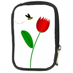 Red tulip and bee Compact Camera Cases