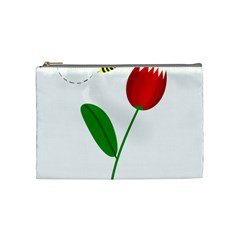Red tulip and bee Cosmetic Bag (Medium)