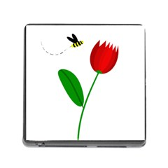 Red tulip and bee Memory Card Reader (Square)