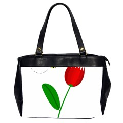 Red tulip and bee Office Handbags (2 Sides)