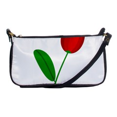 Red tulip and bee Shoulder Clutch Bags