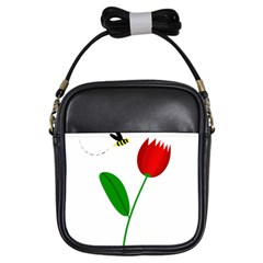 Red tulip and bee Girls Sling Bags