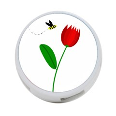 Red tulip and bee 4-Port USB Hub (Two Sides)