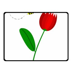 Red tulip and bee Fleece Blanket (Small)