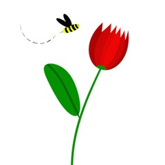 Red tulip and bee Magic Photo Cubes