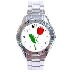 Red tulip and bee Stainless Steel Analogue Watch