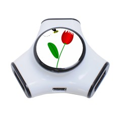 Red tulip and bee 3-Port USB Hub