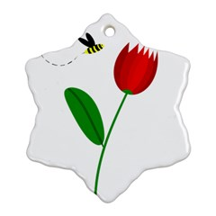 Red Tulip And Bee Ornament (snowflake)