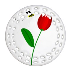 Red tulip and bee Round Filigree Ornament (2Side)