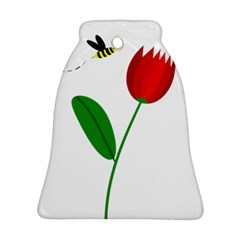 Red tulip and bee Bell Ornament (2 Sides)