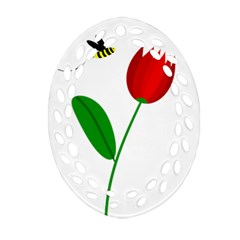 Red Tulip And Bee Ornament (oval Filigree)