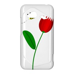 Red tulip and bee HTC Droid Incredible 4G LTE Hardshell Case