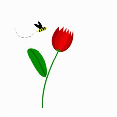 Red tulip and bee Small Garden Flag (Two Sides)