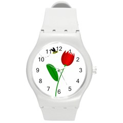 Red tulip and bee Round Plastic Sport Watch (M)