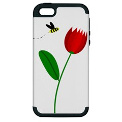 Red tulip and bee Apple iPhone 5 Hardshell Case (PC+Silicone)