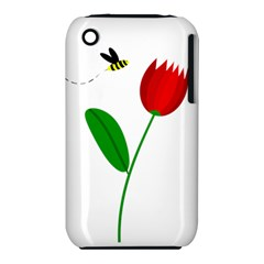 Red tulip and bee Apple iPhone 3G/3GS Hardshell Case (PC+Silicone)