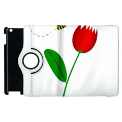 Red tulip and bee Apple iPad 3/4 Flip 360 Case