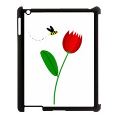 Red tulip and bee Apple iPad 3/4 Case (Black)
